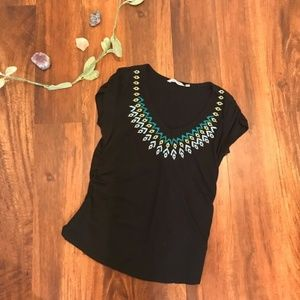 Athleta | Embroidered Black T-shirt